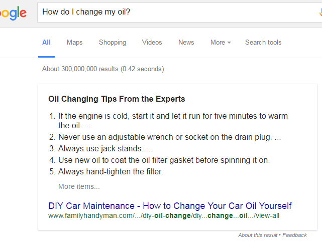 Google Quick Answer