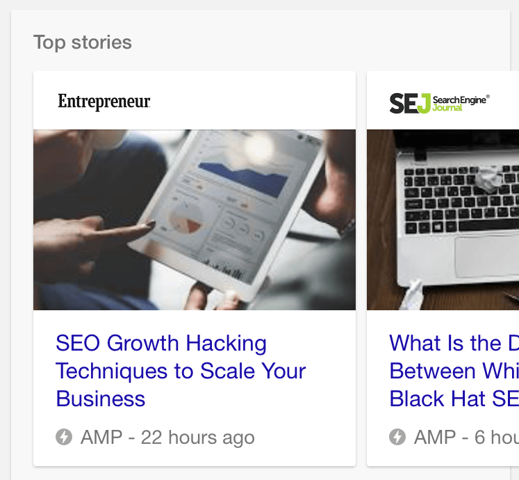 AMP Results in Mobile SERP