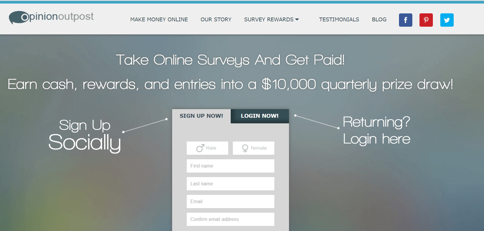 Opinion Outpost Paid Survey Site Example