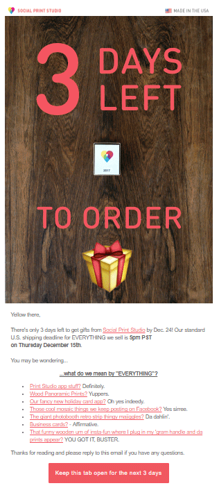 Social Print Studio Promotional Email Example
