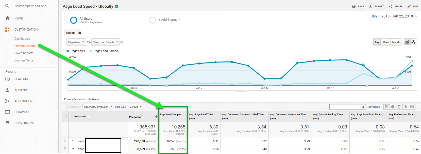 Custom Report page load sample