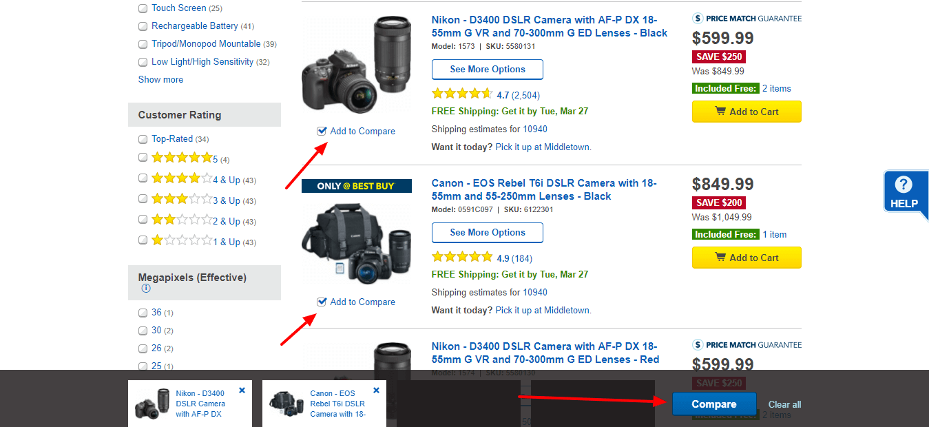 Best Buy Cameras Compare Options