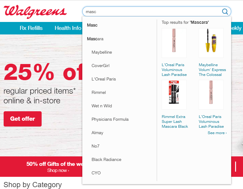 Walgreens Autofill Site Search