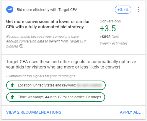 Target CPA Automated Bid Strategy - Google Ads