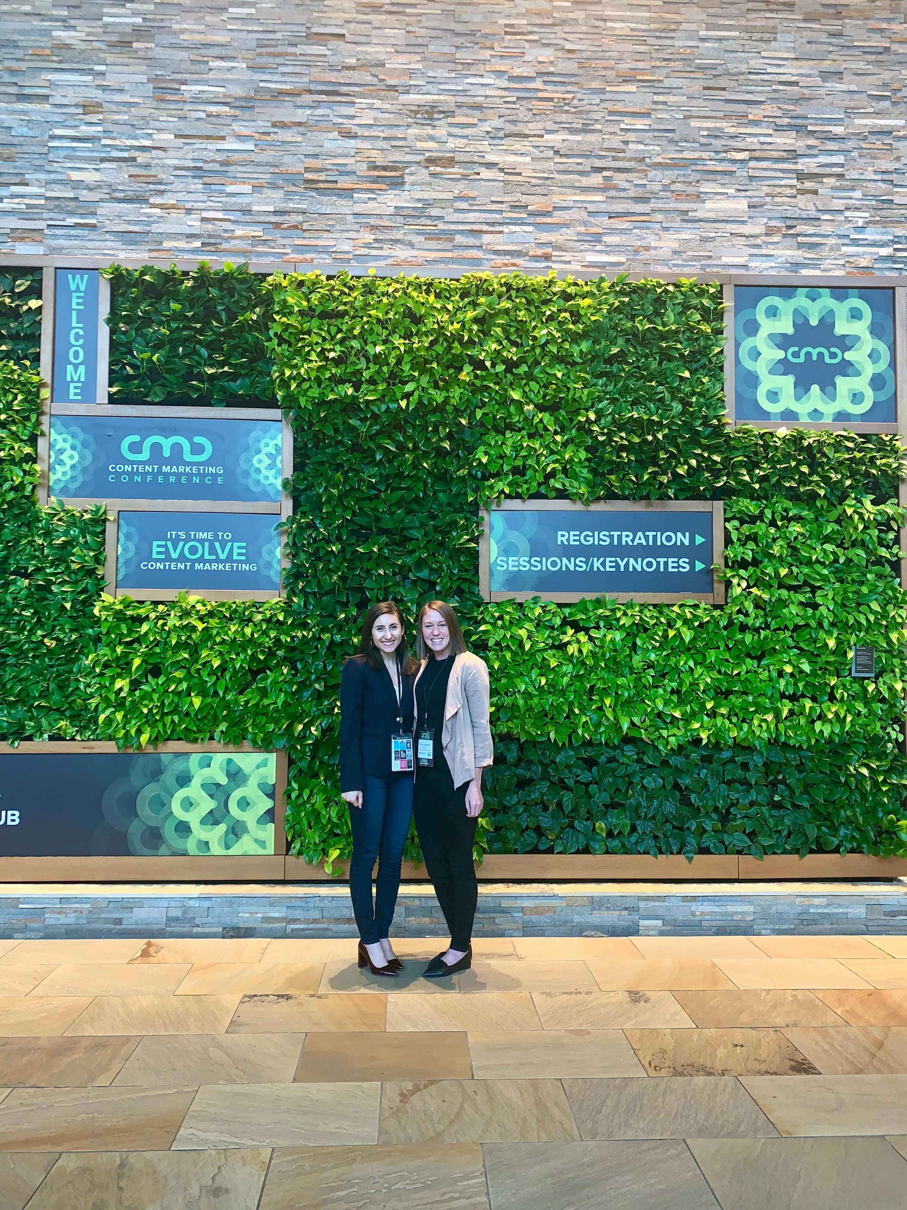 Carrie and Katie attending a Content Marketing Conference in Boston