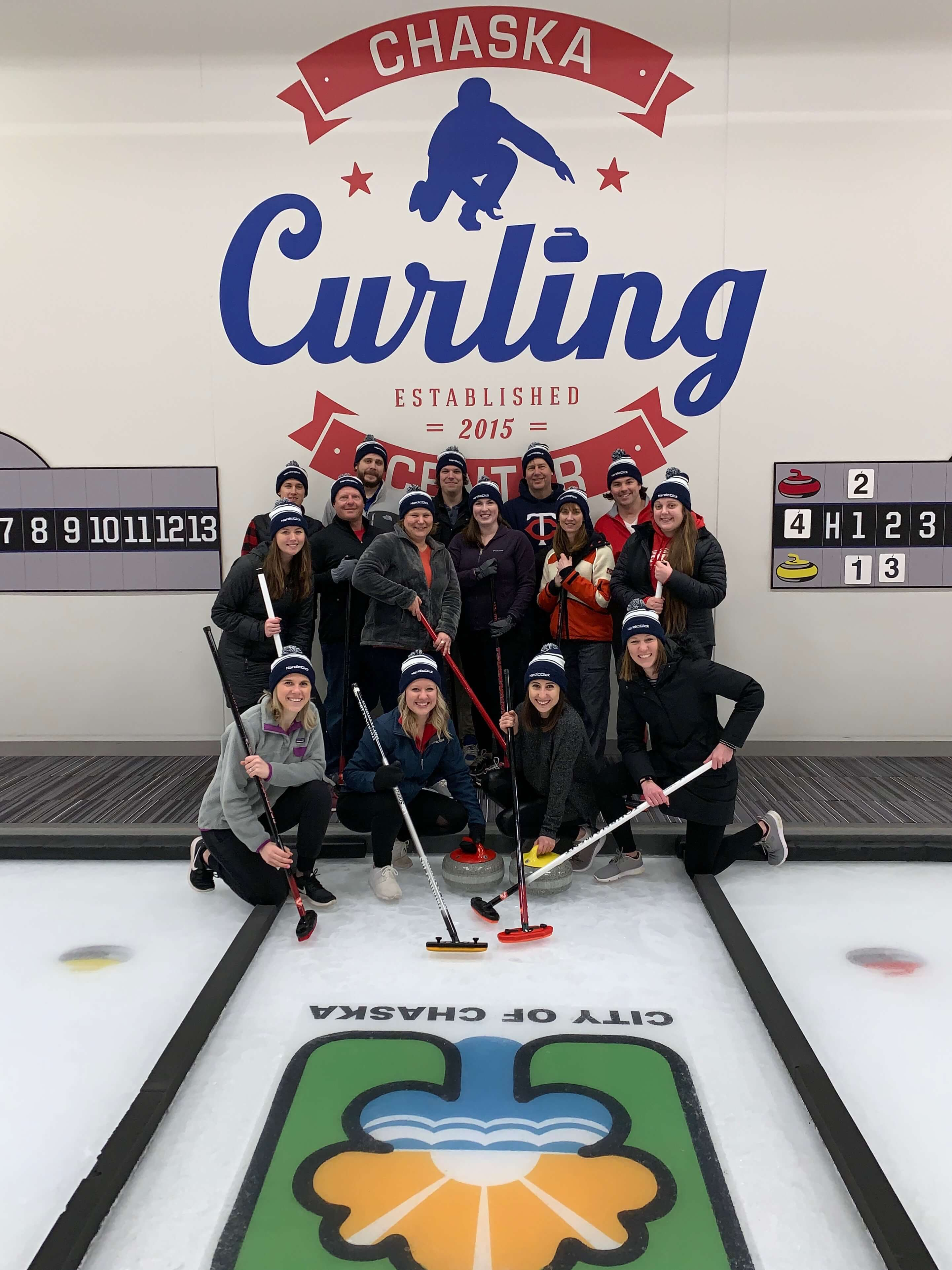 NordicClick staff at a team bonding event at the Chaska Curling Center