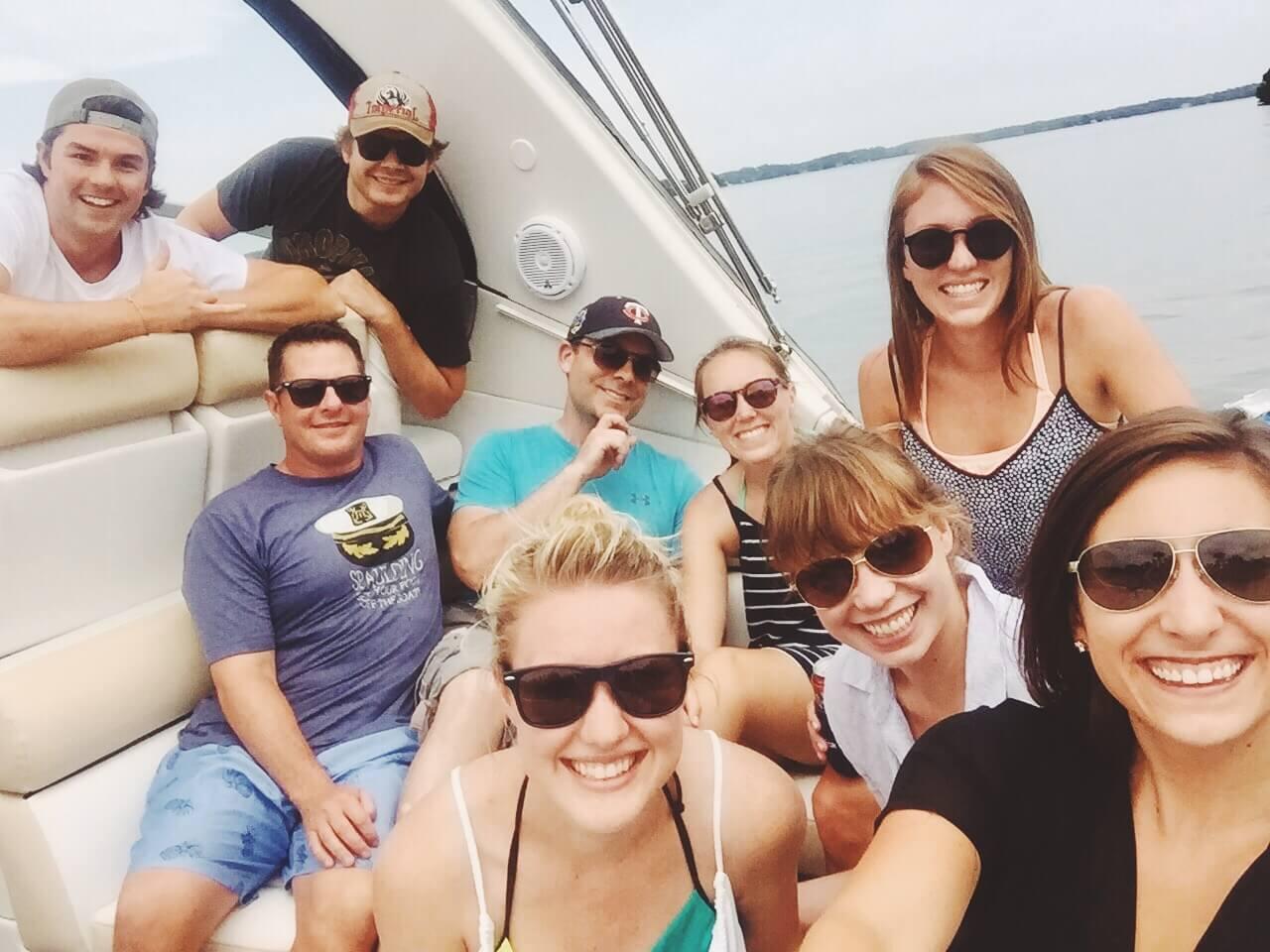 NordicClick staff boating on Lake Minnetonka