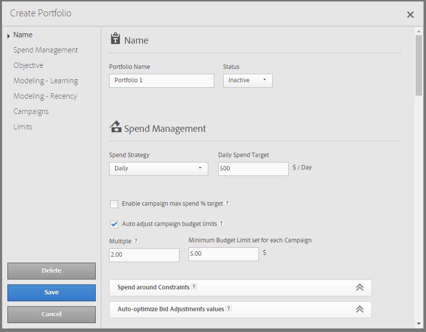 Adobe Optimizer Portfolios