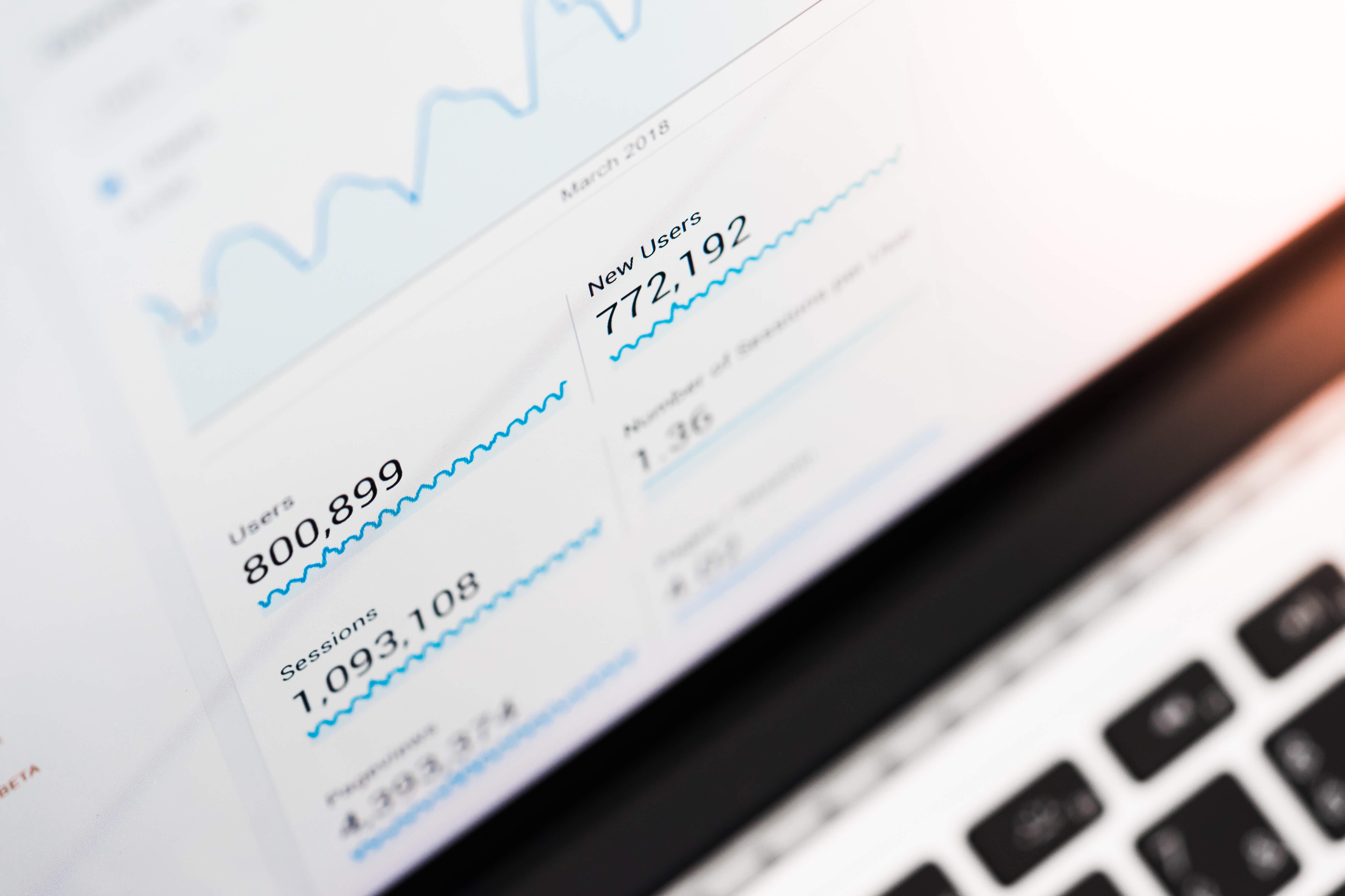 analytics displayed on laptop