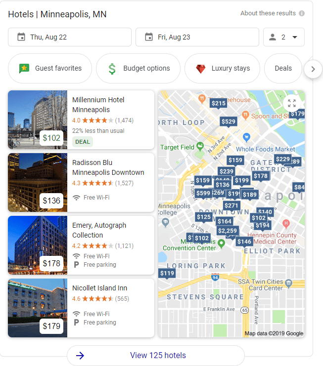 Hotel Ads Beside Google Map