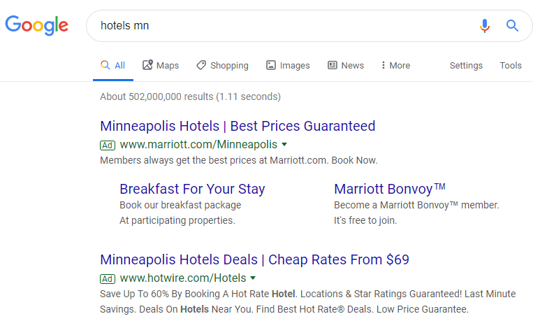 Hotel Ads MN Google Search